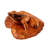 "FROG ON LOTUS LEAF,  HARDWOOD, 10"" - Sejati"