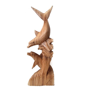 "DOLPHIN STATUE, 2 DOLPHINS PLAYING, NATURAL WOOD FINISH, 20"" - Sejati"