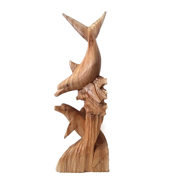 DOLPHIN STATUE, 2 DOLPHINS PLAYING, NATURAL WOOD FINISH, 20