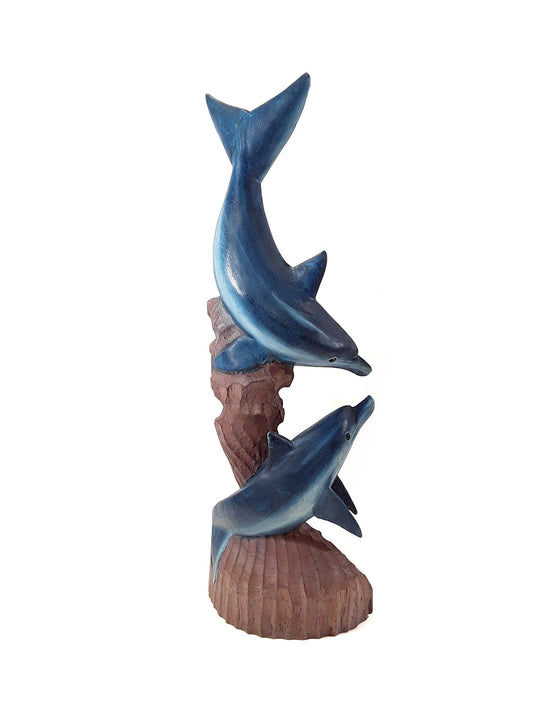 DOLPHIN STATUE, 2 DOLPHINS, PAINTED, 20 INCH