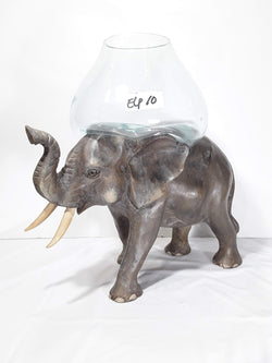 ELEPHANT, 12 INCH HAND CARVED AND PAINTED WOOD WITH GLASS BOWL ON BACK