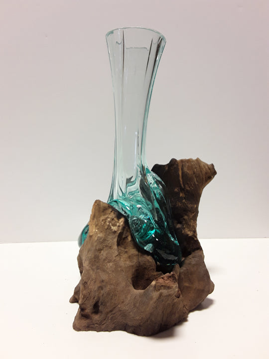 BLOWN GLASS FLUTED BUD VASE APPROX. 11