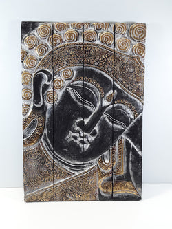 BUDDHA WALL PLAQUE, FOLDING, BLACK WITH GOLD AND SILVER TRIM