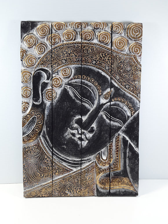 BUDDHA WALL PLAQUE, FOLDING, BLACK WITH GOLD AND SILVER TRIM - Sejati