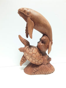 HUMPBACK WHALE AND TURTLE, 16 INCHES - Sejati