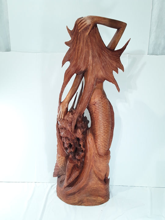MERMAID, 40 INCH, HAND CARVED, SUAR WOOD