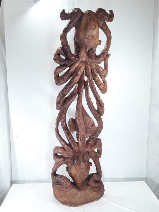 OCTOPUS, HAND CARVED, SUAR WOOD, 40 INCH