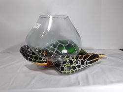 TURTLE, 16 INCH PAINTED WOOD WITH GLASS BOWL ON BACK