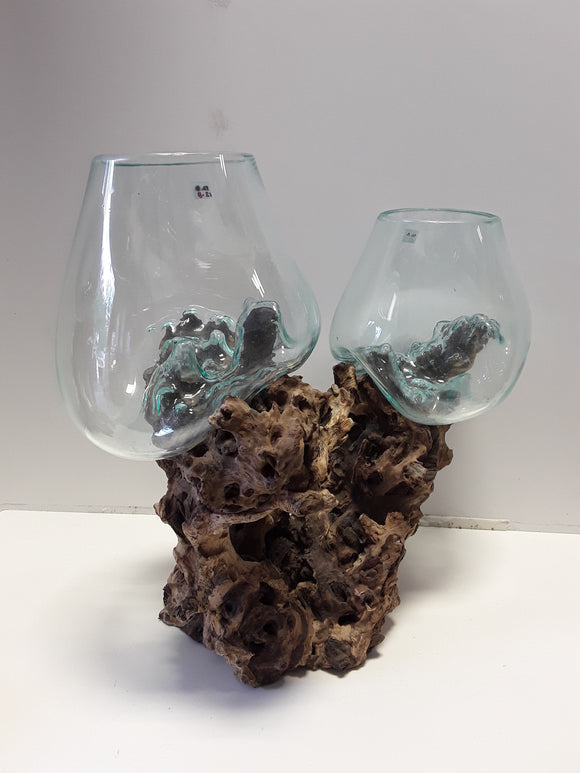 BLOWN GLASS ON DRIFTWOOD, TWO GLOBES - Sejati