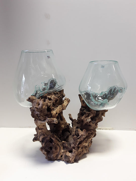 BLOWN GLASS ON DRIFTWOOD, TWO GLOBES