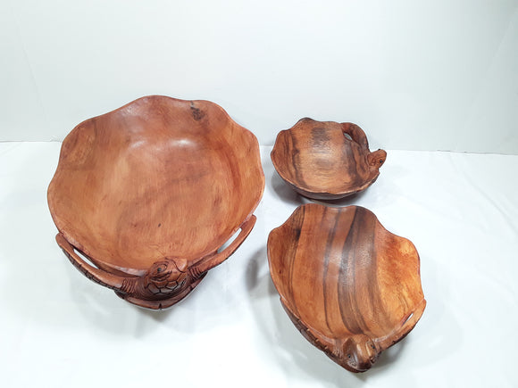 TURTLE BOWL, HAND CARVED WOOD, SET OF THREE - Sejati