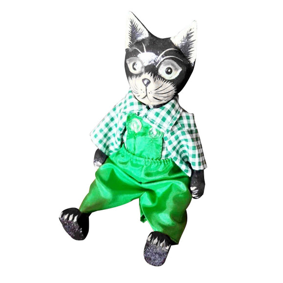 CAT PUPPET, PAINTED, CLOTHED, 10