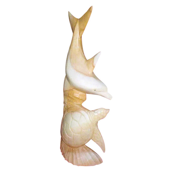 DOLPHIN AND TURTLE STATUE, NATURAL WOOD, 20