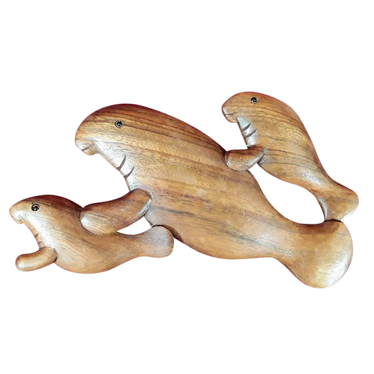 MANATEE FAMILY WALL PLAQUE, SUAR WOOD, NATURAL
