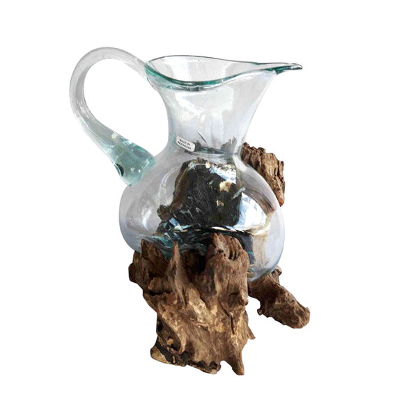 BLOWN GLASS PITCHER ON DRIFTWOOD, LARGE  APPROX. 13