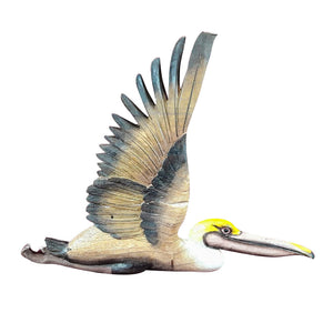 "PELICAN WALL PLAQUE, PAINTED, 16"" - Sejati"