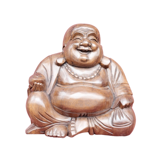 BUDDHA, HAPPY,  SUAR WOOD, 12""