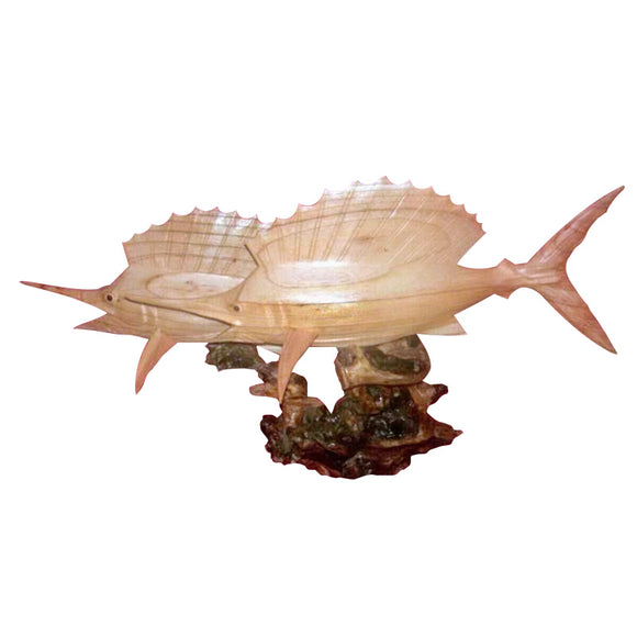 SAILFISH, DOUBLE, ON HARDWOOD BURL BASE, NATURAL, 20