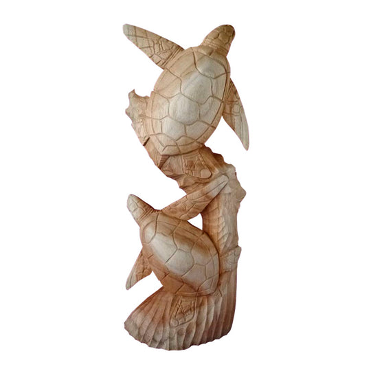 TURTLE STATUE, DOUBLE, SUAR WOOD, 20