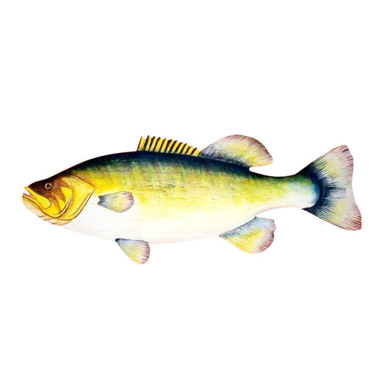 BASS WALL HANGING, PAINTED, 20