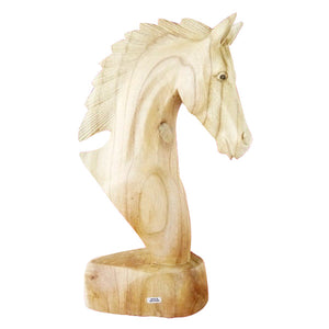 "HORSE HEAD STATUE, HAND CARVED WOOD, NATURAL, 20"" - Sejati"