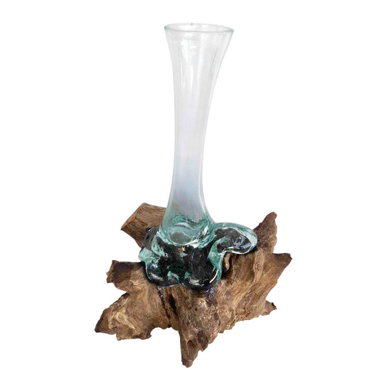 BLOWN GLASS BUD VASE ON DRIFTWOOD, APPROX. 12