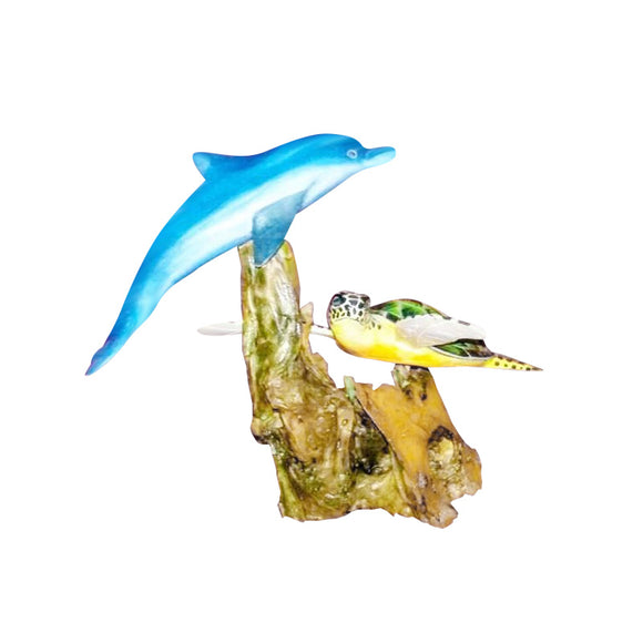 DOLPHIN AND TURTLE DETACHABLE STATUE, PAINTED, 16