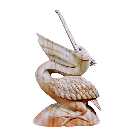 Pelican Statue Natural Wood 16