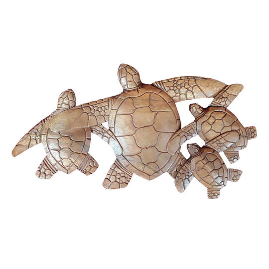 "TURTLE FAMILY WALL PLAQUE, SUAR WOOD, NATURAL,16"" - Sejati"