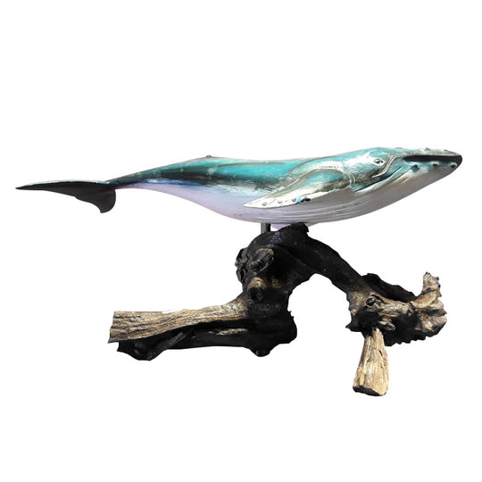 WHALE, HUMPBACK ON WOOD BURL, PAINTED, 20