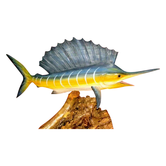 SAILFISH ON BASE, PAINTED, 20