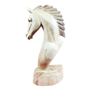 "HORSE HEAD SCULPTURE, NATURAL WOOD, 16"" - Sejati"