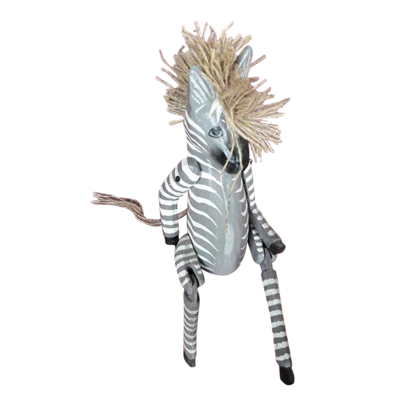 ZEBRA PUPPET, PAINTED, 14