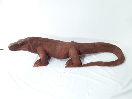 KOMODO DRAGON, HAND CARVED, 40 INCH