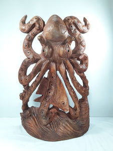 OCTOPUS 20 INCH, HAND CARVED SUAR WOOD STATUE - Sejati