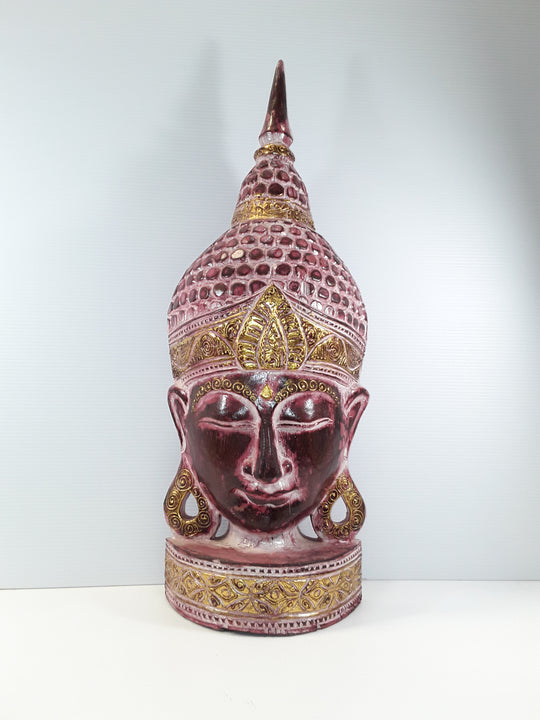 "BUDDHA, FREE STANDING FACE, 30"", RED HUES"