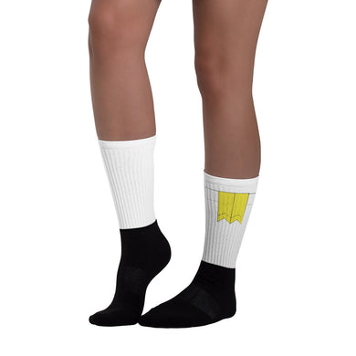 Yellow Flashes Socks (White)