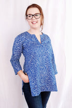 Load image into Gallery viewer, Blue Vines Cotton Tunic