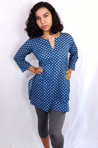 Blue with Trees Cotton Tunic