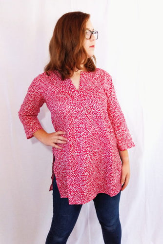 Pink Vines Cotton Tunic