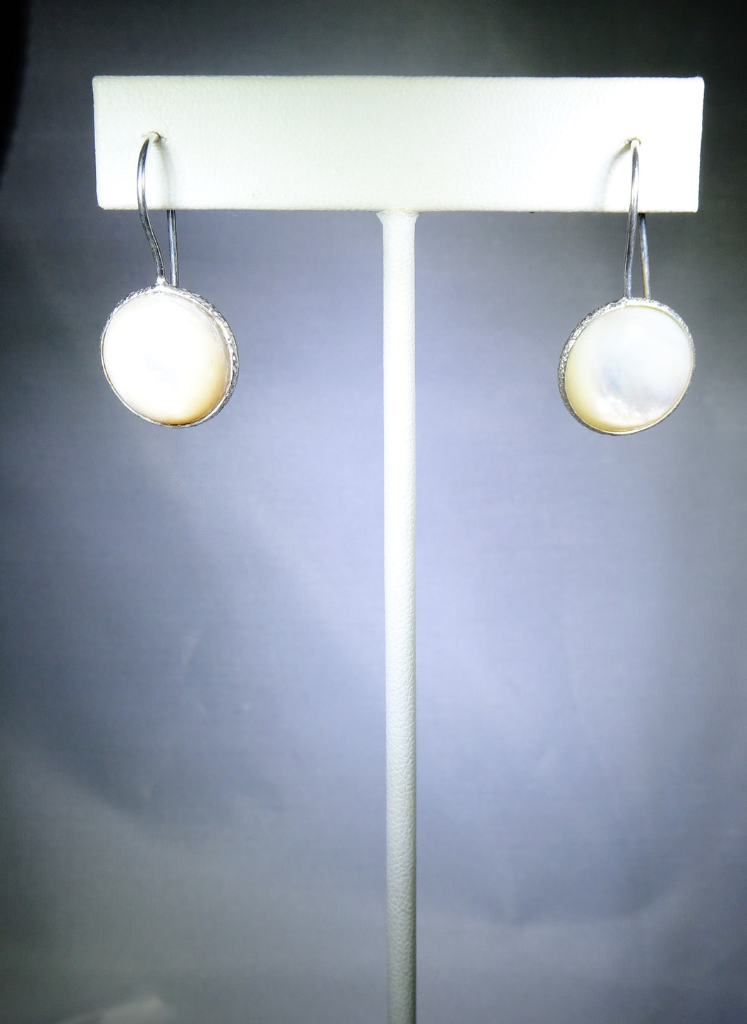 Single Round Drop Earring- White