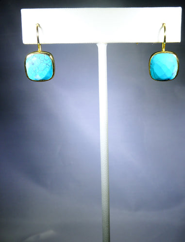 Square Drop Earring- Turqoise