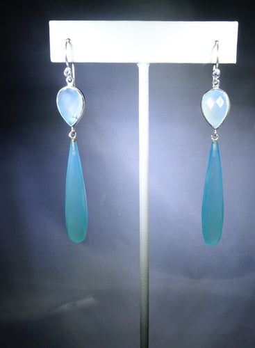 Long Oval Drop Earring- Light Blue