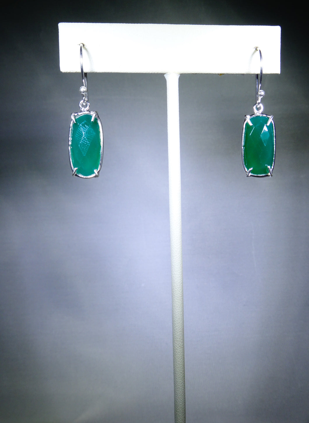 Rectangular Drop Earring- Green