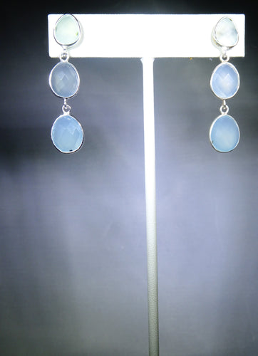 Triple-Drop Earring- Light Blue