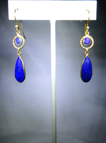Golden Loop With Oval Drop Earring- Dark Blue