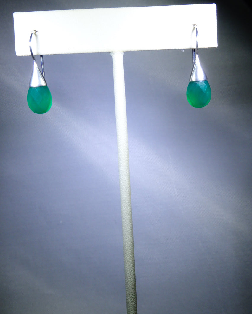 Small Oval Drop Earring- Green
