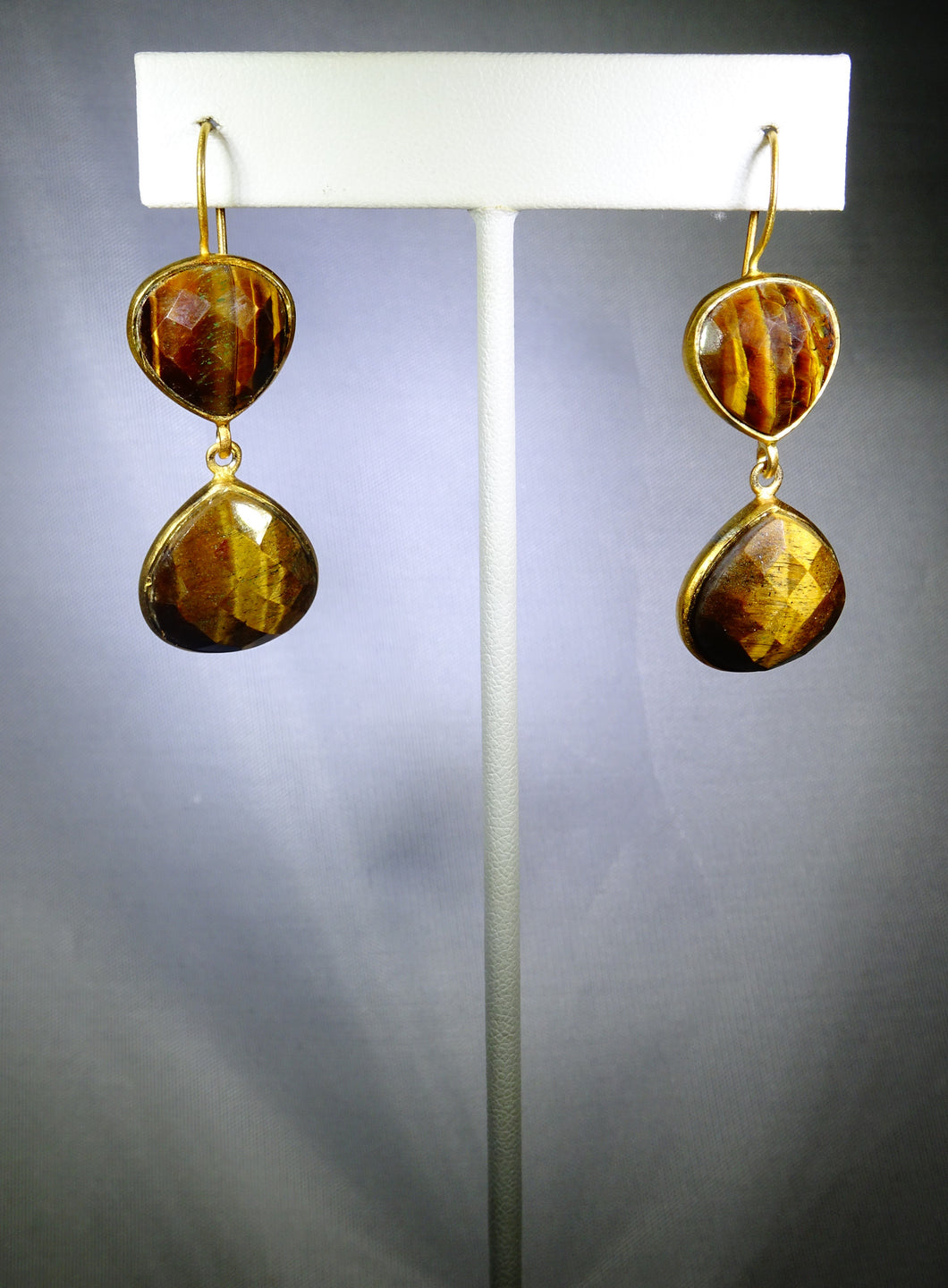 Double-Drop Tiger's Eye Earring