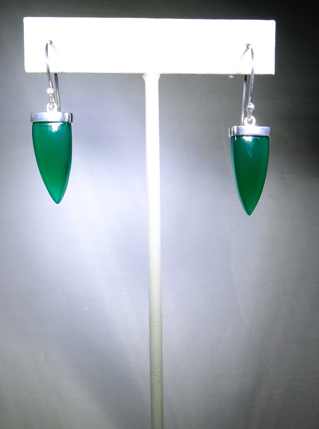 Triangular Drop Earring- Green