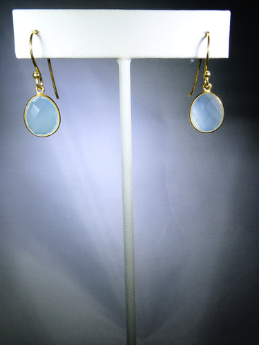 Oval Drop Earring- Light blue, Gold Plating